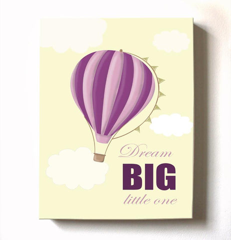 Dream Big Baby Girl Hot Air Balloon Canvas Nursery Art - Adventure Nursery or Playroom DecorBaby ProductMuralMax Interiors