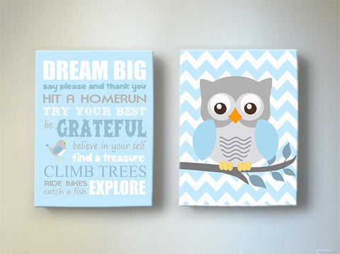 Dream Big Inspirational Quote Nursery Art - Owl Boy Nursery Canvas Decor - Set of 2