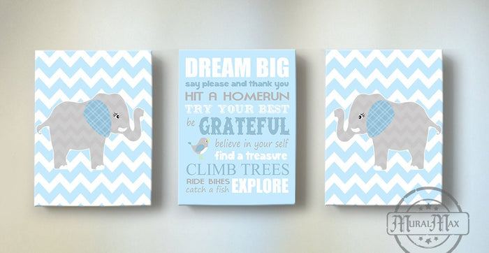 Dream Big Little One Elephant Nursery Decor - Inspirational Quote Baby Boy Canvas Nursery Art - Set of 3