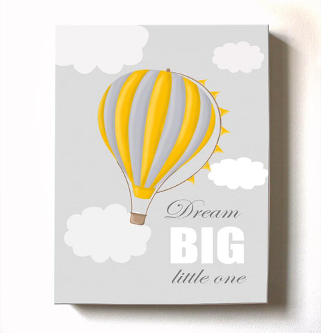 Dream Big Little One Nursery Decor - Hot Air Balloon Canvas Art for Boy's Room or NurseryBaby ProductMuralMax Interiors