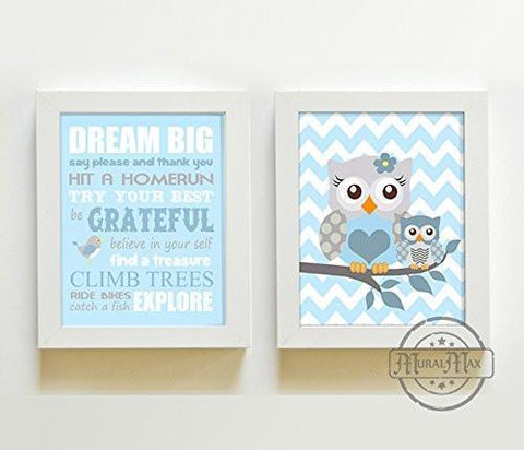 Dream Big Mom & Baby Owl Playroom Rules Wall Art Print - Inspirational Quote - Set of 2 - Unframed Prints