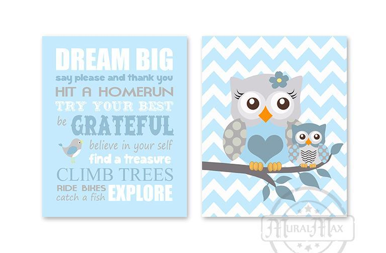 Dream Big Mom & Baby Owl Playroom Rules Wall Art Print - Inspirational Quote - Set of 2 - Unframed Prints-MuralMax Interiors