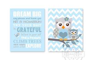 Dream Big Mom & Baby Owl Playroom Rules Wall Art Print - Inspirational Quote - Set of 2 - Unframed Prints - MuralMax Interiors