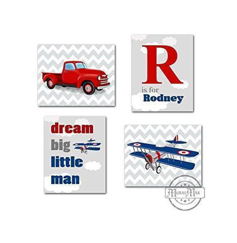 Dream Big Personalized Airplane & Truck Theme - Set of 4 - Unframed Prints-B01CRMHS44-MuralMax Interiors
