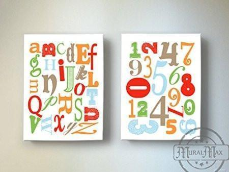 Educational ABC's & 123's Canvas Nursery Decor - Set of 2-Multi Colored Decor