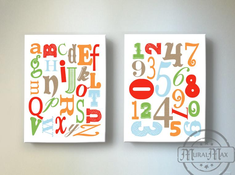 Educational ABC's & 123's Canvas Nursery Decor - Set of 2-Multi Colored Decor - MuralMax Interiors