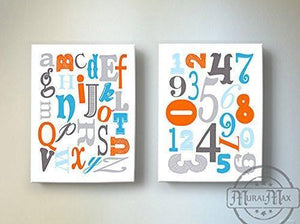 "Educational ABC's & 123""s Nursery Theme - The Canvas Letter's & Number's Collection - Set of 2-B019017Q6K - MuralMax Interiors"