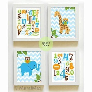 Educational Alphabet & Numbers Nursery Art With Whimsical Animals - Chevron Unframed Prints - Set of 4-B018KOGMNQ