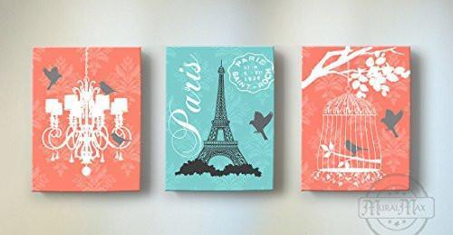 Eiffel Tower & Chandelier - Candelabra Theme - The Paris Collection - Canvas Decor - Set of 3-B019015X9M