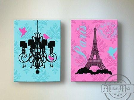 Eiffel Tower & Chandelier Theme - The Paris Collection - Canvas Decor - Set of 2-B018ISLOAA