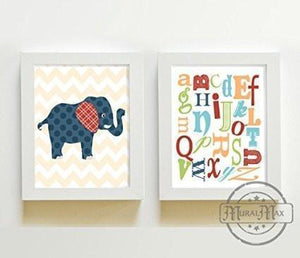 Elephant & Alphabet Nursery Wall Decor - Toddle Room Decor - Unframed Prints - Set of 2 - MuralMax Interiors