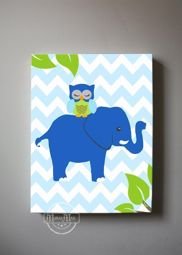 Elephant Canvas Nursery Art - Toddler Boy Room Decor - Blue Green Nursery Decor-MuralMax Interiors