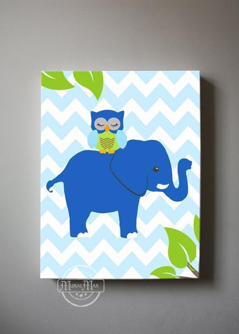 Elephant Canvas Nursery Art - Toddler Boy Room Decor - Blue Green Nursery Decor