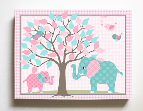 Elephant Family Pink Girls Nursery Decor - Elephant Safari Canvas Nursery Art - MuralMax Interiors