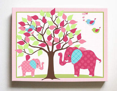 Elephant Girls Nursery Decor - Mom & Baby Elephant Safari Nursery Art - Hot Pink Aqua Canvas Art - MuralMax Interiors