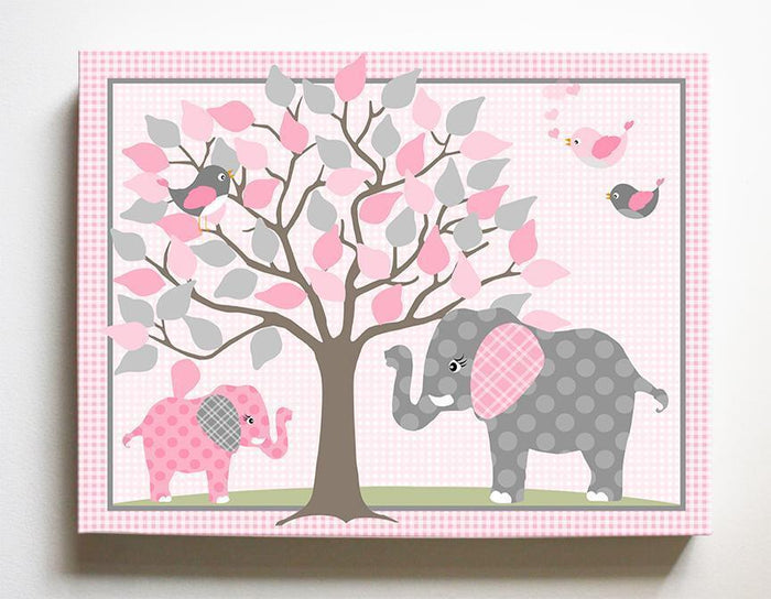 Elephant Girls Room Decor - Nursery Tree Art - Pink Gray Decor - Canvas Art