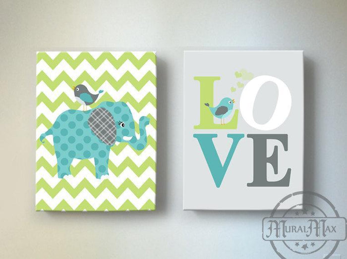 Elephant Nursery Art - Baby Nursery Love Inspirational Quote Chevron Canvas Art - Set of 2