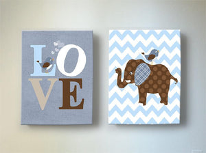 Elephant nursery Art - Brown Blue Baby Boy Room Canvas Wall Art - Set of 2 - MuralMax Interiors