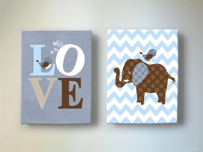 Elephant nursery Art - Brown Blue Baby Boy Room Canvas Wall Art - Set of 2