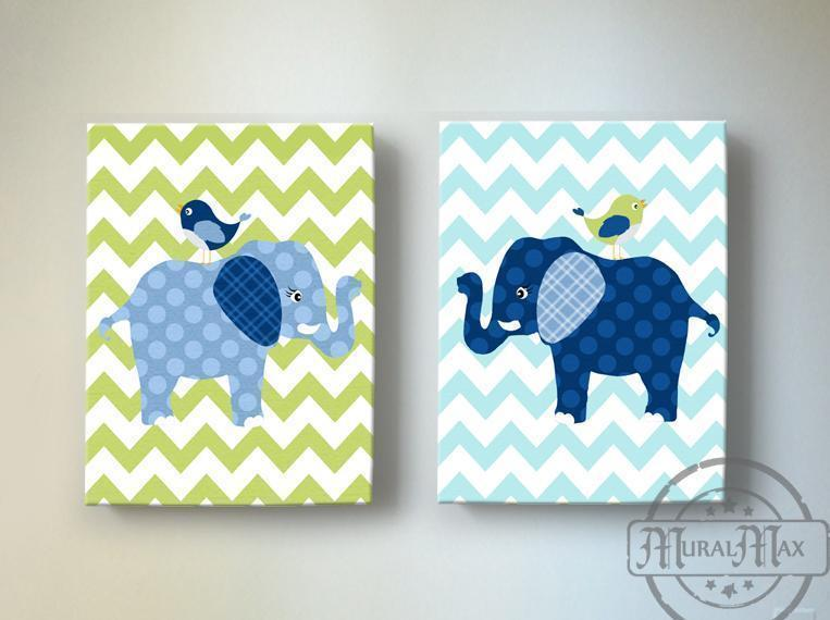Elephant Nursery Decor - Elephant Kids Room Decor - Canvas Nursery Art - Set of 2 - MuralMax Interiors