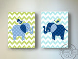 Elephant Nursery Decor - Elephant Kids Room Decor - Canvas Nursery Art - Set of 2