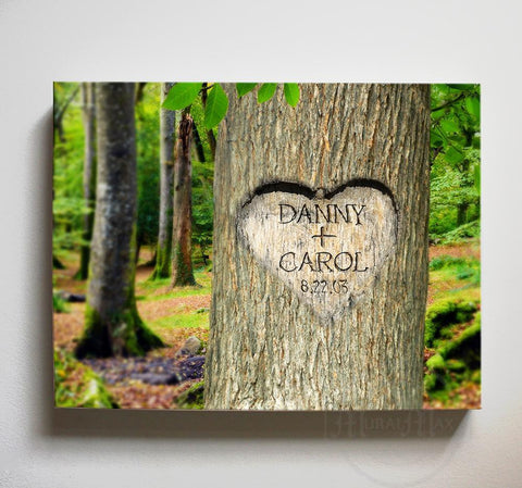 Eternal Love Tree Carving Canvas Print - Personalized Canvas Wall Decor - Gift for Couples