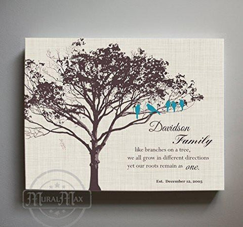 Family, Like Branches On A Tree - Custom Family Tree Canvas Art - Ivory # 1 - B01M11T4TV-MuralMax Interiors