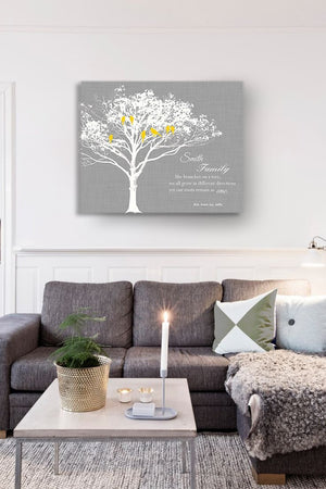 FAMILY - Like branches on a tree. We grow in different directions - Personalized Family Tree Canvas Art, Unique Wall Decor - GrayHomeMuralMax Interiors