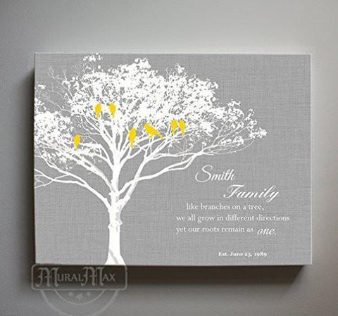 FAMILY - Like branches on a tree. We grow in different directions - Personalized Family Tree Canvas Art, Unique Wall Decor - Gray - MuralMax Interiors