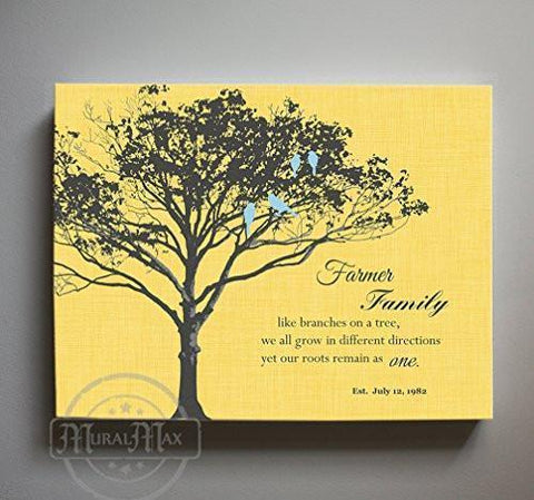 Family Like Branches - Personalized Family Tree Canvas Wall Art - Gift for Parents - Unique Wall Decor -Yellow-MuralMax Interiors