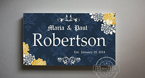 Family Name Personalized Floral Canvas Art - Wedding & Anniversary Gifts-MuralMax Interiors