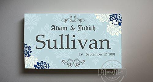 Family Name Personalized Floral Canvas Art - Wedding & Anniversary Gifts