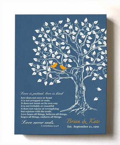 Family Tree Canvas Art - Love in Patience Family Tree Canvas Wall Art - Personalized Bible Verse Anniversary Gifts - Unique Wall Decor - Personalized Wedding & Anniversary Gift - Blue - MuralMax Interiors