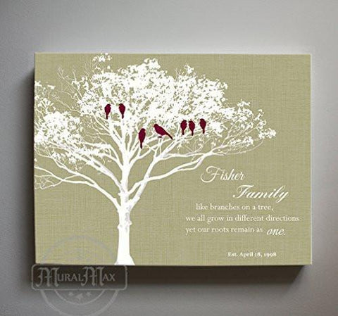 Family Tree - Like Branches on a Tree Quote - Anniversary Gift - Canvas Wall Art - Unique Wall Decor - Khaki - B01M11T4TV-MuralMax Interiors