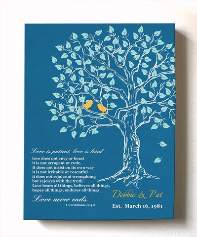 Family Tree & Lovebirds Anniversary Gift Custom Canvas Wall Art - Unique Wall Decor - Choose Your Color - Teal 3 - MuralMax Interiors