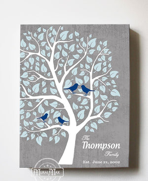 Family Tree - Personalized Unique Stretched Canvas Wall Art - Make Your Wedding & Anniversary Gifts Memorable - Unique Decor - Color Gray - MuralMax Interiors