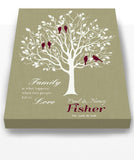 Family Tree Wall Art When Two People Fall In Love Personalized Stretched Canvas Art - Wedding & Anniversary Gift - Light Khaki-MuralMax Interiors