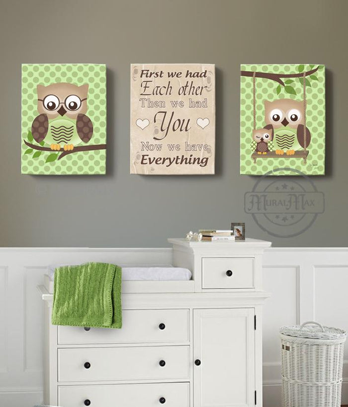 First We Had Each Other Baby Owl Nursery Art  - Inspirational Quote Boys Room Decor - Set of 3 Canvas Art