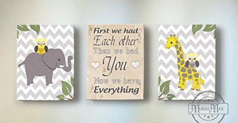 First We Had Each Other Nursery Art - Elephant & Giraffe Yellow & Gray Decor - Set of 3 Canvas Art