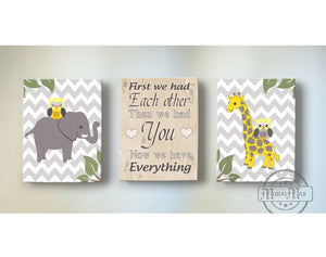 First We Had Each Other Nursery Art - Elephant & Giraffe Yellow & Gray Decor - Set of 3 Canvas Art-MuralMax Interiors