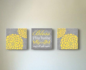Floral Bless This Home & All Who Enter, Stretched Canvas Wall Art, Memorable Anniversary Gifts, Unique Wall Decor, Color, Yellow - 30-DAY - Set of 3-B018KOB6UK-MuralMax Interiors