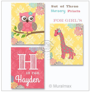 Floral Elephant Giraffe Love Nursery Art Trio - Animal's Nursery Art Prints - Unframed Prints - Set of 3-MuralMax Interiors