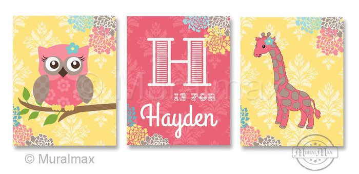 Floral Elephant Giraffe Love Nursery Art Trio - Animal's Nursery Art Prints - Unframed Prints - Set of 3