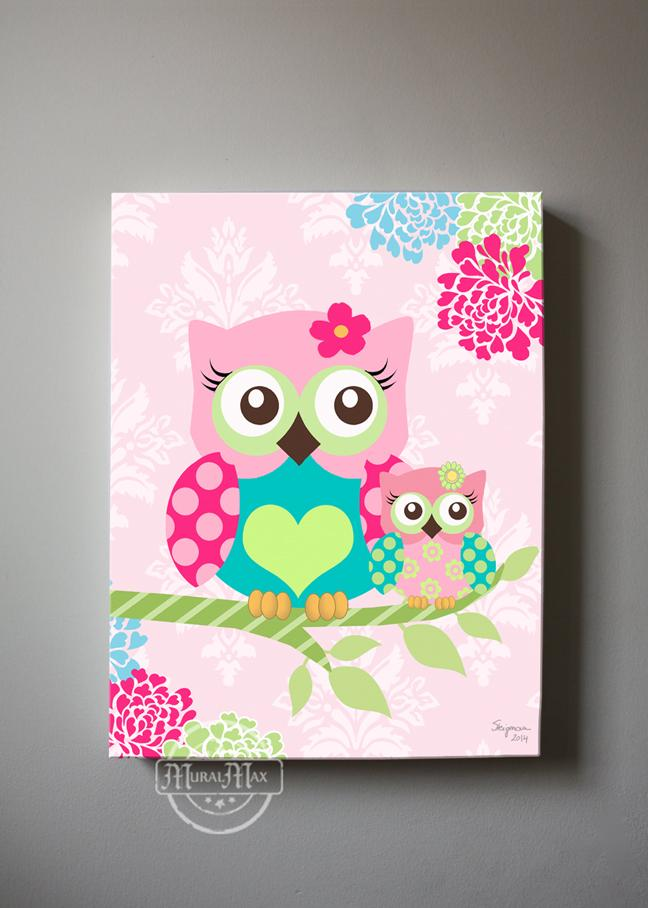 Floral Owl Canvas Art for Girl Nursery - Mom & Baby Owl Pink Teal Decor