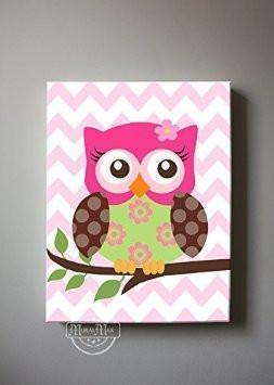 Floral Owl Canvas Decor - Hot Pink Brown Girl Room Wall Art-MuralMax Interiors