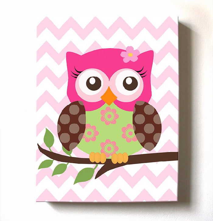 Floral Owl Canvas Decor - Hot Pink Brown Girl Room Wall Art