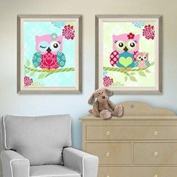 Floral Owl Family Baby Nursery Art - Pink Teal Green Mom & Baby Owl - Unframed Prints - Set of 2
