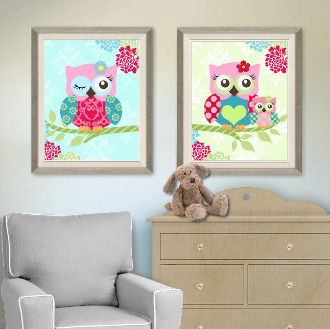 Floral Owl Family Baby Nursery Art - Pink Teal Green Mom & Baby Owl - Unframed Prints - Set of 2-MuralMax Interiors