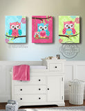 Floral Owl Family Girl Room Decor - Hot Pink Teal & Green Canvas Nursery Decor - Set of 3-MuralMax Interiors