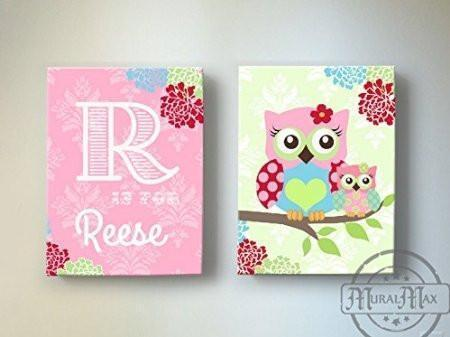 Floral Owls Girls Nursery Wall Art - Personalized Pink & Green Canvas Art Decor - Set of 2-MuralMax Interiors